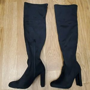 NEVER WORN, perfect condition black boots w/ heel